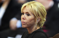 Brigitte Macron stands as her husband France's President Emmanuel Macron is inducted as honorary canon of The Basilica of St.John's in Rome,Italy the Pope's cathedral in his capacity as bishop of the Italian capital on June 26, 2018. The french head of state has traditionally been given the title since French kings made large donations to support the cathedral in the 15th century. Photo by Eric Vandeville/ABACAPRESS.COM