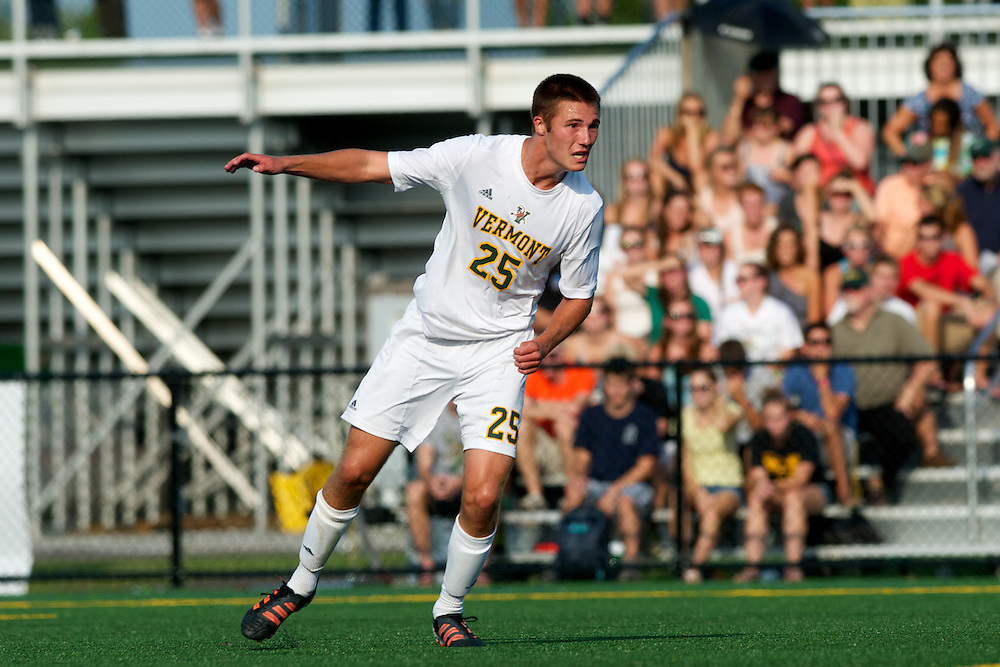 Catamounts forward Mike Clayton (25) in action during the men's soccer game between the Central Connecticut State University Blue Devils and the Vermont Catamounts at Virtue Field on Friday afternoon September 7, 2012 in Burlington, Vermont.