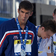 Michael Phelps, USA, on the podium to collect his silver medal after losing to  Paul Biedermann, Germany, in the Men's 200m Freestyle Final at the World Swimming Championships in Rome on Tuesday, July 28, 2009. Photo Tim Clayton.
