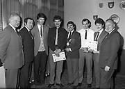 Bartenders Association of Ireland presenting certificates at lunch in Guinness Brewery...1983-02-21.21st February1983.21/02/1983.02-21-83 ..Pictured at Guinness Brewery, St James's Gate, Dublin..Assembly of members who received certificates on successful completion of the BAI examination..Front row From left to right:..Fifth - Frank O'Reilly, President of Bartenders Association of Ireland.
