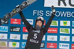 Natalia Soboleva (RUS), celebrates during Final Run at Parallel Giant Slalom at FIS Snowboard World Cup Rogla 2019, on January 19, 2019 at Course Jasa, Rogla, Slovenia. Photo byJurij Vodusek / Sportida