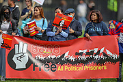 """Members of the Burmese community gathered outside Westminster Palace, Houses of Parliament in central London on Sunday, Aug 8, 2021 - during a global campaign """"SAVE Myanmar"""" to mark 33 years of the 8888 uprising and struggles for democracy against military rule in the country. (VX Photo/ Vudi Xhymshiti)"""