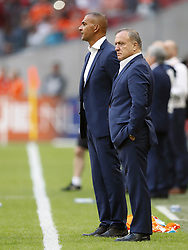 (L-R) assistant trainer Ruud Gullit of Holland, coach Dick Advocaat of Holland during the FIFA World Cup 2018 qualifying match between The Netherlands and Bulgariaat the Amsterdam Arena on September 03, 2017 in Amsterdam, The Netherlands