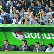 Istanbul BuyuksehirBelediyespor's coach Abdullah AVCI (2ndL) during their Turkish superleague soccer match Fenerbahce between IBBSpor at the Sukru Saracaoglu stadium in Istanbul Turkey on Sunday 01 May 2011. Photo by TURKPIX