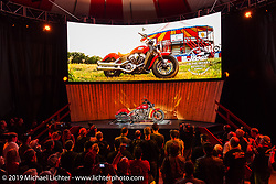 Saturday night reveal of the new 2015 Indian Scout in the American Motordrome Wall of Death during the Sturgis Black Hills Rally. Sturgis, SD, USA. August 2, 2014.  Photography ©2014 Michael Lichter.