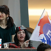Turkish performer Sebnem FERAH during their Turkish Airlines Euroleague Basketball Top 16 Group G Game 4 match Efes Pilsen between Real Madrid at Sinan Erdem Arena in Istanbul, Turkey, Thursday, February 17, 2011. Photo by TURKPIX