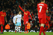 Divock Origi of Liverpool celebrates after scoring his teams 2nd goal. Premier League match, Liverpool v West Ham Utd at the Anfield stadium in Liverpool, Merseyside on Sunday 11th December 2016.<br /> pic by Chris Stading, Andrew Orchard sports photography.