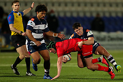 Harry Sloan of Saracens is tackled - Mandatory by-line: Nick Browning/JMP - 26/02/2021 - RUGBY - Butts Park Arena - Coventry, England - Coventry Rugby v Saracens - Friendly