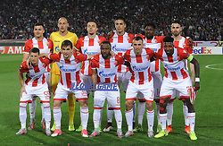 Players of Crvena Zvezda posing for team photo during football match between NK Crvena Zvezda Beograd and Arsenal FC in Group H of UEFA Europa League 2017/18, on October 19, 2017 in Stadion Rajko Mitic, Belgrade, Serbia. Photo by Nebojsa Parausic / Sportida