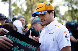 March 16, 2019 - Albert Park, VIC, U.S. - ALBERT PARK, VIC - MARCH 16: McLaren F1 Team driver Carlos Sainz arrives at The Australian Formula One Grand Prix on March 16, 2019, at The Melbourne Grand Prix Circuit in Albert Park, Australia. (Photo by Speed Media/Icon Sportswire) (Credit Image: © Steven Markham/Icon SMI via ZUMA Press)