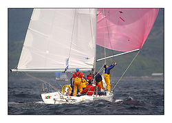 Yachting- The first days inshore racing  of the Bell Lawrie Scottish series 2002 at Tarbert Loch Fyne. Near perfect conditions saw over two hundred yachts compete. <br />Loony Tunes  GBR9784R Class 4 JOD 35<br />Pics Marc Turner / PFM