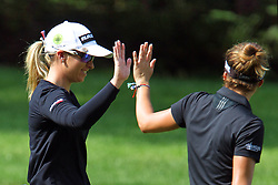 May 26, 2018 - Ann Arbor, Michigan, United States - Jodi Ewart Shadoff of North Yorkshire, England high fives with Gaby Lopez of Mexico City, Mexico after her shot from the fairway to the 4th green during the third round of the LPGA Volvik Championship at Travis Pointe Country Club, Ann Arbor, MI, USA Saturday, May 26, 2018. (Credit Image: © Amy Lemus/NurPhoto via ZUMA Press)
