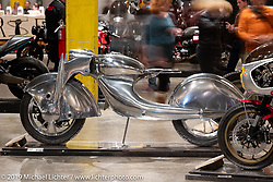 The Killer, a scratch built art deco masterpiece envisioned by the Haas Museum's Bobby Haas and executed by Australian Craig Rodsmith in Chicago. A 3-cylinder engine in the front wheel powers this aluminum encased bike that shows off Rodsmith's amazing metal shaping skills. On view at the Handbuilt Show. Austin, Austin USA. Sunday, April 14, 2019. Photography ©2019 Michael Lichter.