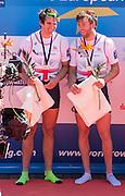 Brandenburg. GERMANY. Silver medalist Men's Pair, Left, Alan SINCLAIR and Stewart INNES, awards dock,<br /> 2016 European Rowing Championships at the Regattastrecke Beetzsee<br /> <br /> Sunday  08/05/2016<br /> <br /> [Mandatory Credit; Peter SPURRIER/Intersport-images]