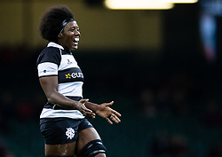 Alycia Washington of Barbarians<br /> <br /> Photographer Simon King/Replay Images<br /> <br /> Friendly - Wales v Barbarians - Saturday 30th November 2019 - Principality Stadium - Cardiff<br /> <br /> World Copyright © Replay Images . All rights reserved. info@replayimages.co.uk - http://replayimages.co.uk