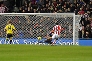 Stoke city 's Steven Nzonzi shoots and scores his sides 2nd goal. Barclays Premier league, Stoke city v Sunderland at the Britannia stadium in Stoke on Trent, England on Saturday 23rd Nov 2013. pic by Andrew Orchard, Andrew Orchard sports photography,
