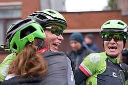 Kirsten Wild overjoyed with the team win at the 112.8 km Le Samyn des Dames on March 1st 2017, from Quaregnon to Dour, Belgium. (Photo by Sean Robinson/Velofocus)