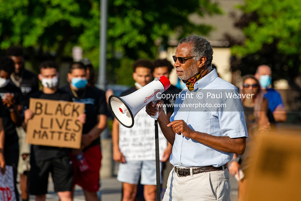 Selinsgrove, PA (June 20, 2020) -- Pennsylvania State Senator Art Haywood (D - Montgomery and Philadelphia) speaks to demonstrators at the No Justice, No Peace protest in Selinsgrove. Central PA Protests and 'If Not Us, Then Who?' hosted a protest at Sharon Lutheran Church to demand police reform and to honor the lives lost to police violence.