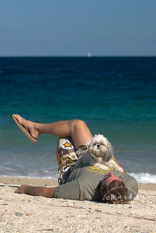 Shi-tzu dog & owner relaxing on beach, Baja California Sur, Mexico