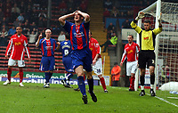 Photo: Olly Greenwood.<br />Crystal Palace v Crewe Alexander. Coca Cola Championship. 15/04/2006. Palaces Mark Hudson misses a great chance to score