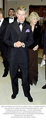 HRH The PRINCE OF WALES and MRS CAMILLA PARKER BOWLES at a dinner in London on 20th November 2002.	PFL 160