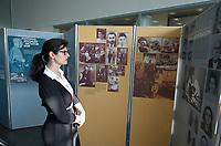 """DEU, Deutschland, Germany, Berlin, 19.10.2012:<br />Eine Besucherin der Ausstellung """"The Holocaust against the Sinti and Roma and Present Day Racism in Europe"""" in der Stiftung Topographie des Terrors."""
