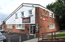 © London News Pictures. 29/07/2013. Manchester, UK. The Alliance Pub in Manchester where a man was found dead with stab wounds after he crashed a car into the pub.A second man was found stabbed to death at his home in nearby Moston, and his 13-year-old child left in a critical condition.  Photo credit Steve Allen/LNP