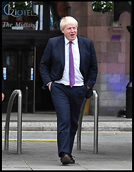 October 4, 2017 - Manchester, Manchester, United Kingdom - Prime Minister Theresa May at the Conservative Party Conference 2017. Image ©Licensed to i-Images Picture Agency. 04/10/2017. Manchester, United Kingdom. Manchester Central. The Foreign Secretary Boris Johnson walks over to Manchester Central to watch the Prime Minister Theresa May deliver her keynote speech to members of the Conservative Party Conference. Picture by Anthony Devlin / i-Images (Credit Image: © Anthony Devlin/i-Images via ZUMA Press)