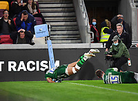 Rugby Union - 2020 / 2021 Gallagher Premiership - Round 19 - London Irish vs Exeter Chiefs - Brentford Community Stadium<br /> <br /> London Irish's Ben Loader dives for a try but Tom Parton had knocked on.<br /> <br /> COLORSPORT