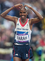 11.08.2012, Olympia Stadion, London, GBR, Olympia 2012, 5000m, Herren, Finale, im Bild Mohamed Farah (GBR, Gold Medaille) // gold medal Mohamed Farah (GBR) during Men's 5000m Final at the 2012 Summer Olympics at Olympic Stadium, London, United Kingdom on 2012/08/11. EXPA Pictures © 2012, PhotoCredit: EXPA/ Johann Groder
