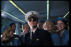 RELEASE DATE: August 2, 2002. MOVIE TITLE: Catch Me If You Can. STUDIO: Amblin Entertainment . PLOT: A true story about Frank Abagnale Jr. who, before his 19th birthday, successfully conned millions of dollars worth of checks as a Pan Am pilot, doctor, and legal prosecutor. PICTURED: LEONARDO DICAPRIO as Frank Abagnale Jr. (Credit Image: © Amblin Entertainment/Entertainment Pictures/ZUMAPRESS.com)