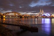 view from the district Deutz to the Hohenzollern bridge, the cathedral and the theater Musical Dome, Rhine, Cologne, Germany.<br /> <br /> Blick von Deutz zur Hohenzollernbruecke, Dom und Zelttheater Musical Dome, Rhein, Koeln, Deutschland.