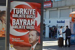 June 24, 2017 - Ankara, Turkey - The ruling Justice and Development Party (AKP) posts a new billboard with the portrait of Turkish President Recep Tayyip Erdogan on the eve of Eid al-Fitr in Ankara, Turkey on June 24, 2017. (Credit Image: © Altan Gocher/NurPhoto via ZUMA Press)
