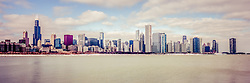 Chicago skyline retro panorama photo with the most popular Chicago buildings inluding the Willis Tower (Sears Tower), Trump Tower, and John Hancock Center building. Panoramic ratio is 1:3.