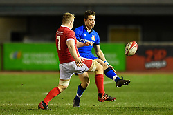 Paolo Garbisi of Italy kicks ahead<br /> <br /> Photographer Craig Thomas/Replay Images<br /> <br /> U20 Six Nations - Wales v Italy  - Friday 31st January 2020 - Stadiwm Zip World (Parc Eirias) - Colwyn Bay<br /> <br /> World Copyright © Replay Images . All rights reserved. info@replayimages.co.uk - http://replayimages.co.uk