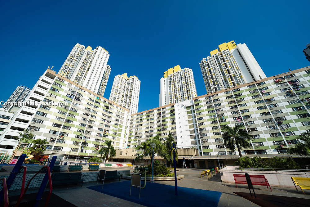 Typical apartment blocks at Shek Kip Mei in Kowloon, Hong Kong.