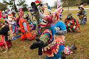Revelers in traditional costume beg for food during the Faquetigue Courir de Mardi Gras chicken run on Fat Tuesday February 17, 2015 in Eunice, Louisiana. The traditional Cajun Mardi Gras involves costumed revelers competing to catch a live chicken as they move from house to house throughout the rural community.