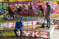 """Left to right, Tevon 'TJ Jules, 13, Pharell """"PJ"""" Samuel, 16, Trizzy, 16, Liam Ross, 17, Mac Ferrari, and front, Daniel 16,. Bikestormz is the brainchild of leader Mac Ferrari, a group of young trick cyclists who are encouraged to put knives down and enjoy the healthy, positive side of urban youth culture by joining together  and developing their cycling skills. London, September 27 2019."""