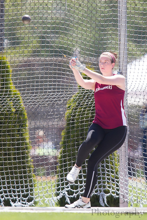 Ramapo College's Natalie Scanlan competes in the women's hammer throw at the NJAC Track and Field Championships at Richard Wacker Stadium on the campus of  Rowan University  in Glassboro, NJ on Saturday May 4, 2013. (photo / Mat Boyle)