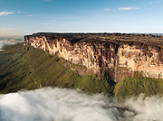 Water falls from the magnificent Mount Roraima, which towers above the forest landscape of the Gran Sabana in Venezuela