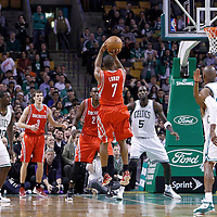 06 March 2012: Houston Rockets point guard Kyle Lowry (7) takes a jumpshot during the Boston Celtics 97-92 (OT) victory over the Houston Rockets at the TD Garden, Boston, Massachusetts, USA.