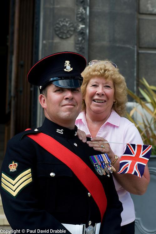 Colour Sgt Leon Egbury with Mum Marcia Egbury Freedom Parade 3rd Battalion The Yorkshire Regiment Barnsley South Yorkshire  22 June 2010 .Images © Paul David Drabble.
