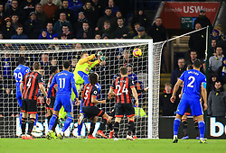 Bournemouth goalkeeper Artur Boruc saves a shot during the Premier League match at the Cardiff City Stadium.