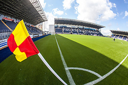 The corner flag bending in the light wind at The Falkirk Stadium, with the new pitch work for the Scottish Championship game v Morton. The woven GreenFields MX synthetic turf and the surface has been specifically designed for football with 50mm tufts compared with the longer 65mm which has been used for mixed football and rugby uses.  It is fully FFA two star compliant and conforms to rules laid out by the SPL and SFL.<br /> ©Michael Schofield.