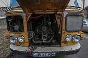 The engine of an old Soviet passenger bus is seen as the bus is parked at the entry of Vanadzor city on Sunday, Jan 16, 2021. Vanadzor is the third-largest city in Armenia, serving as the capital of Lori Province in the northern part of the country. It is located about 128 kilometres north of the capital Yerevan. (Photo/ Vudi Xhymshiti)