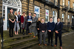 Pictured: Laura Peackock, Investors in your people, John Moran, managing director, Jamie Hepburn, met some of the young staff of Grant Properties.<br /> <br /> Employability and training minister Jamie Hepburn MSP, visited Grant Property in Edinburgh today to announce the latest labour market statistics and to award the company the 350th Investors in Young People award. <br /> <br /> Ger Harley | EEm 14 December 2016