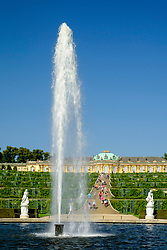 Statues and fountain in garden of Sanssouci Palace in Potsdam, Germany