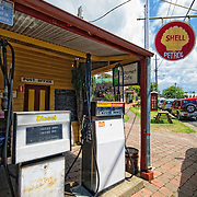 An old petrol station in the quaint, historic town of Central Tilba in New South Wales, Australia