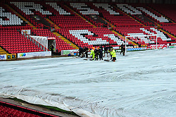 Groundsmen working on the pitch before Bristol City host Peterborough United - Photo mandatory by-line: Dougie Allward/JMP - Tel: Mobile: 07966 386802 29/12/2012 - SPORT - FOOTBALL - Ashton Gate - Bristol -  Bristol City v Peterborough United - Championship.