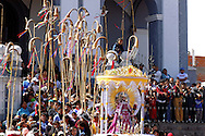"""Bolivia. Tarija. Festa di San Roque..The """"Caña"""" is a traditional folk instrument of the city, almost three meters long sounds like a trombone and playing with the principle of the trumpet, he starts playing with the feast of St. Roque, accompaning all processions."""